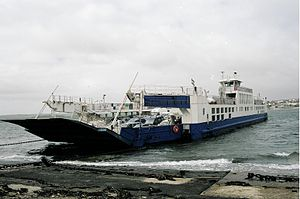 A374 road - Torpoint Ferry, the A374 crossing over the River Tamar