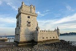 Torre de Belém, na praia de onde saíu a expedição de Vasco da Gama