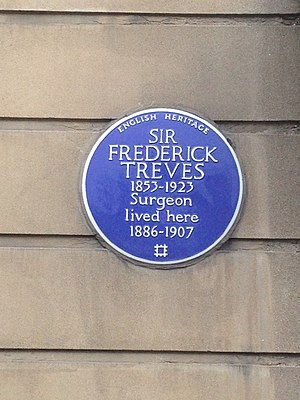 Sir Frederick Treves, 1st Baronet - Sir Frederick Treves memorial plaque, at 6 Wimpole Street, Marylebone, London