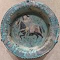 Tripod dish with horseman, central Iran, Seljuk period, Cincinnati Art Museum.JPG