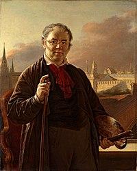 В.Тропинин. Автопортрет на фоне Московского Кремля