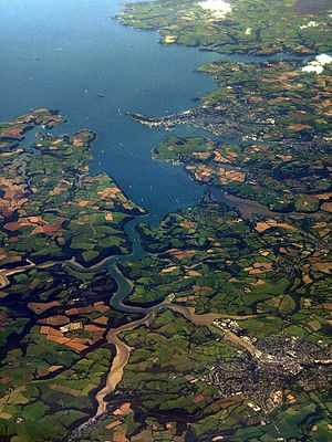 Great County Adit - Carrick Roads, showing the silted-up Restronguet Creek at centre right