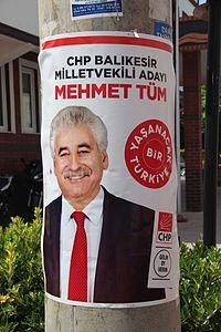 Turkish general election, 2015 - Republican People's Party (Turkey) - Mehmet Tüm - Balıkesir.JPG