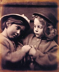 Two Little Girls Wearing Hats, by Julia Margaret Cameron.jpg