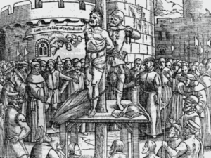 "Foxe's Book of Martyrs - William Tyndale, just before being strangled and burned at the stake, cries out, ""Lord, open the King of England's eyes"", in woodcut from an early edition of Foxe's Book of Martyrs."