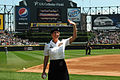 U.S. Army Capt. Jessica Beard, human resources officer for the 85th Support Command, is honored by the Chicago White Sox as the hero of the day, at a home game at Cellular Field in Chicago, June 30, 3013 130630-A-KL464-014.jpg