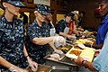 U.S. Sailors, assigned to Navy Operational Support Center Milwaukee, serve breakfast at St. James Episcopal Church during the Navy's commemoration of the bicentennial of the War of 1812 in Milwaukee, Wis 120809-N-HN795-002.jpg