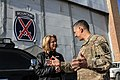 U.S. Secretary of the Air Force Deborah Lee James, left, speaks with a U.S. Soldier assigned to Regional Command East while visiting Bagram Airfield, Afghanistan, March 22, 2014 140322-A-DS387-081.jpg