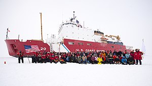 USCGC Healy (WAGB-20) - Healy and the Geotraces science team have their portrait taken at the North Pole Sept. 7, 2015. Healy reached the pole on Sept. 5, becoming the first U.S. surface vessel to do so unaccompanied.