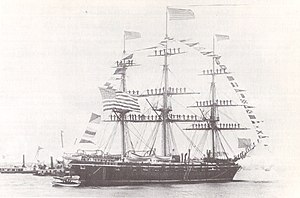 USS Brooklyn (1858) - USS Brooklyn dressed overall and with her yards manned at the Naval Review on April 29, 1889.