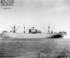 USS Etamin (AK-93), broadside view, underway off San Francisco, 25 May 1943.