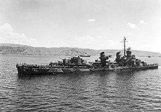 USS La Vallette (DD-448) - La Vallette off Mariveles after being mined, February 1945.