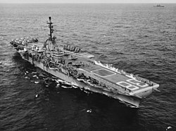 USS Shangri-La (CVA-38) launching aircraft on 10 January 1956.jpg
