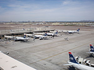 Phoenix Sky Harbor International Airport - Several US Airways planes at Concourse A – Terminal 4.