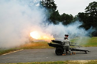 M116 howitzer - Salute battery fires its guns during a ceremony at Fort Jackson, in 2009.