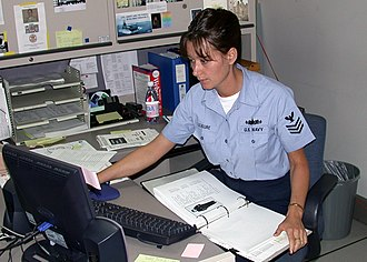 Survey data collection - US Navy 030618-N-2893B-001 Information Technician 1st Class Annette Leasure takes a few minutes to fill out the BUPERS Online Uniform Survey Questionnaire