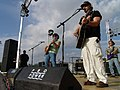 US Navy 040601-N-8861F-002 Ted Nugent, left, and country singer Toby Keith, right, play for a crowd gathered at Naval Support Activity, Naples.jpg