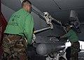 US Navy 041113-N-5837R-018 Photographer's Mate 1st Class John Yoder, left, and Photographer's Mate 2nd Class Julian Olivari, install an AN-ASQ-228 Advanced Targeting Forward-Looking Infrared (ATFLIR) Pod on an F-A-18F Super Hor.jpg