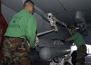 AN/ASQ-228 ATFLIR - AN/ASQ-228 Advanced Targeting Forward-Looking Infrared (ATFLIR) Pod on an F/A-18 Super Hornet.