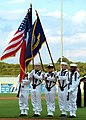 US Navy 050823-N-6046R-011 The color guard from Naval Air Station Joint Reserve Base Fort Worth, Texas, present colors as the National Anthem is sung at a Military Appreciation baseball playoff game at La Grave Field.jpg