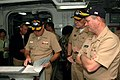 US Navy 060906-N-2659P-136 Vice Adm. Walter Massenburg receives feedback from Stennis leadership concerning Boots on the deck during a visit to the Nimitz-class aircraft carrier USS John C. Stennis (CVN 74).jpg
