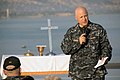 US Navy 090411-A-4455C-002 Chaplain Cmdr. David Oravec gives an Easter morning sermon aboard the Military Sealift Command hospital ship USNS Comfort (T-AH 20) near the shore of Port-Au-Prince, Haiti.jpg