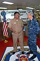 US Navy 090627-F-7885G-060 Capt. Tom Negus, mission commander for Continuing Promise 2009, speaks with the Chief of Naval Operations of El Salvador during a Continuing Promise event.jpg