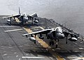 US Navy 100917-N-5538K-077 An AV-8B Harrier jet aircraft assigned to Marine Attack Squadron (VMA) 542 prepares to land aboard the forward-deployed.jpg