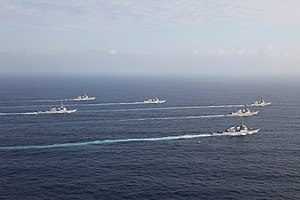 US Navy 120129-N-ZZ999-537 Six of the seven ships assigned to Destroyer Squadron (DESRON) 15 transit in formation during Multi-Sail 2012.jpg