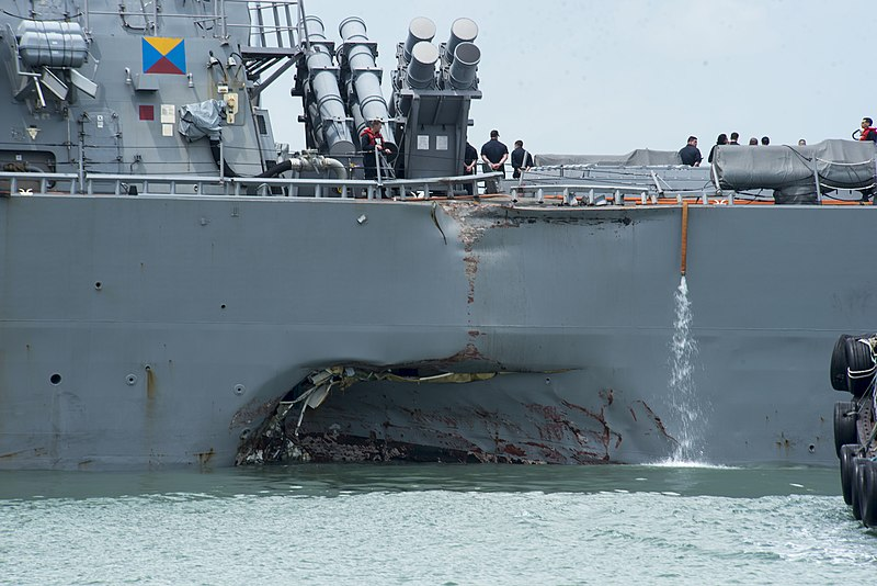 US Navy 170821-N-OU129-022 Damage to the portside of USS John S. McCain (DDG 56).jpg