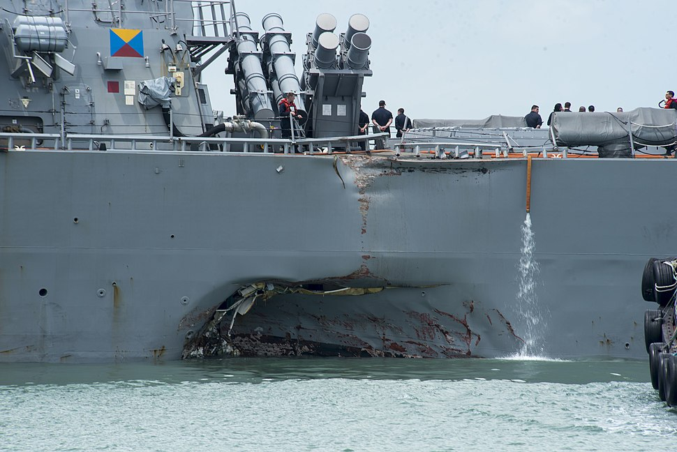 US Navy 170821-N-OU129-022 Damage to the portside of USS John S. McCain (DDG 56)