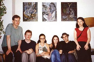 Terry Marks - Left to right: Charles Thomson with US Stuckists, Nicholas Watson, Terry Marks (with cat), Marisa Shepherd, Jesse Richards and Catherine Chow in Marks' New York apartment in 2001. The paintings on the wall are by her.