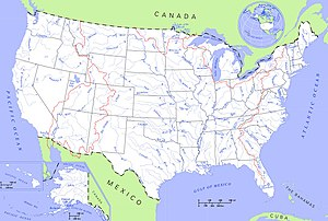 List Of Rivers Of The United States Wikipedia - Map-of-us-states-and-rivers