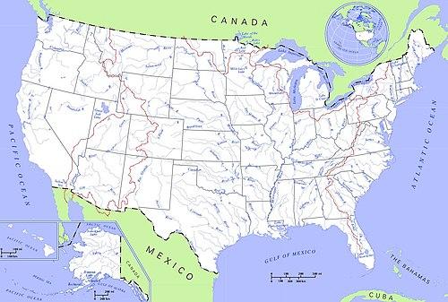Kort over afvandingsområder og floder i usa. hovedvandskel er