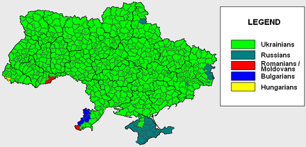 Main ethnic groups of Ukrainian raions (2001) Ukraine ethnic 2001 by regions and rayons.PNG