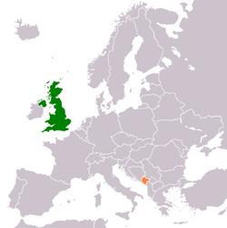 Map indicating locations of United Kingdom and Montenegro