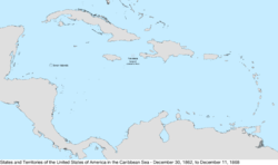 Map of the United States in the Caribbean Sea from December 30, 1862, to December 11, 1868