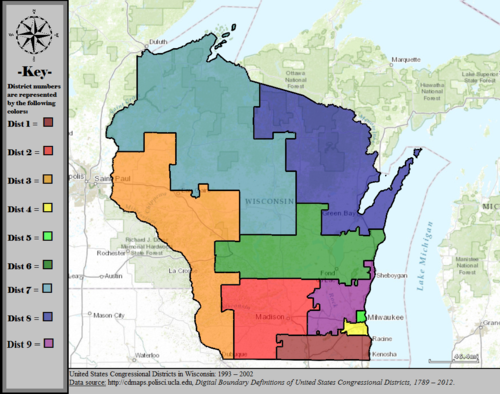 United States Congressional Districts in Wisconsin, 1993 – 2002.tif