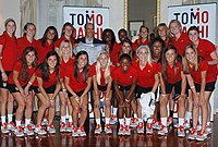 United States U-20 women's soccer team posing with Ambassador John Roos at the United States embassy in Tokyo, Japan 2012.jpg