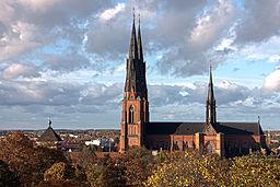 Uppsala domkirke fra Uppsala slotte.