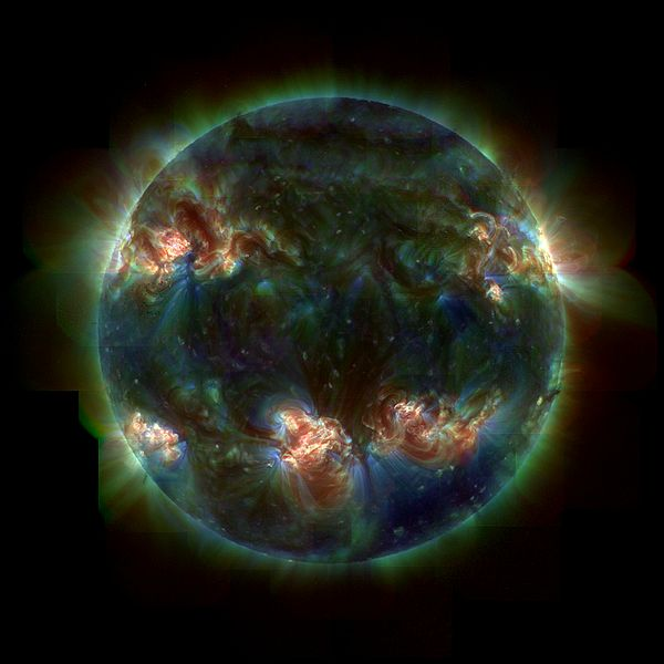 Image of our Sun, Sol, taken with a filter enabling us to see below what we can see with our naked eyes. The colours indicate the temperature with red colour being about 2 million degrees and blue/green being about 1 million degrees.