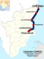Uzhavan Express (Chennai - Thanjavur) route map.png
