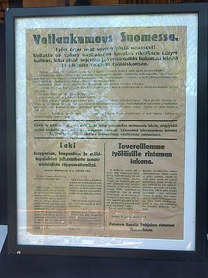 Finnish People's Delegation - A 1918 poster announcing the revolution in Finland, part of the Finnish Civil War. The lower-right section contains a law adopted by the People's Delegation.