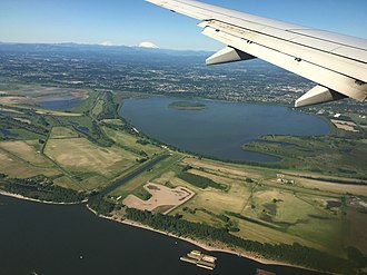 Vancouver Lake - An aerial view of the lake (with the Columbia River in the foreground)
