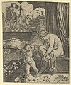 Venus naked sitting at right drying her foot with a piece of drapery, Cupid, in front of her, holding a bow in his right hand MET DP854067.jpg