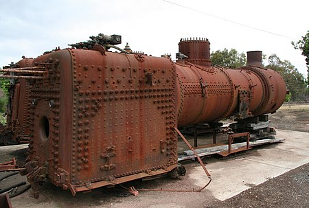 1950s design steam locomotive boiler, from a Victorian Railways J class Victorian Railways J class boiler and firebox.jpg