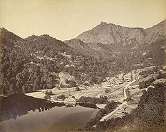 View of Mallital, without the present Naina Devi Temple, Nainital, 1865.jpg