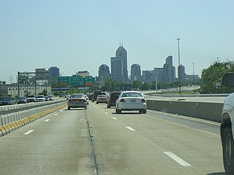 Interstate 70 - I-70 near its junction with I-65, east of downtown Indianapolis