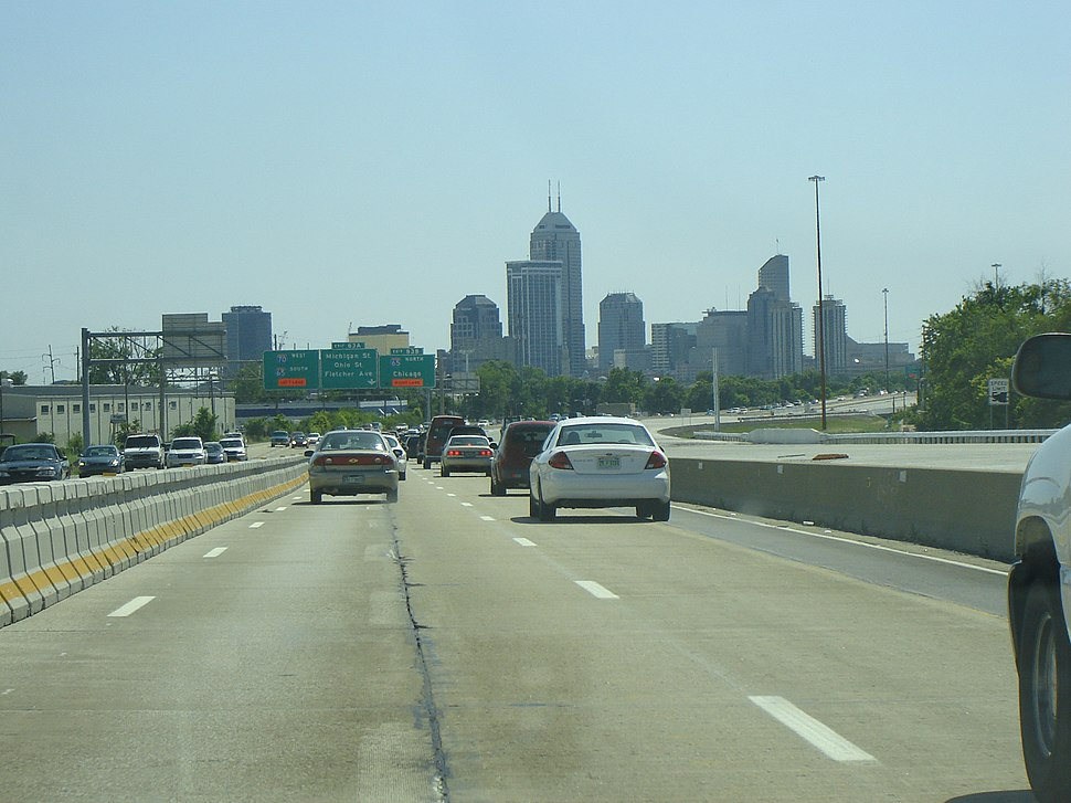 View of downtown Indianapolis from I-70