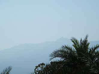 Parasnath - View of the mountain peak from the road towards Parasnath railway station.
